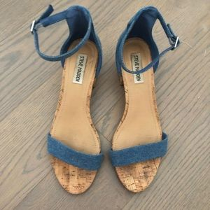 Steve Madden Denim & Cork Heel Sandals